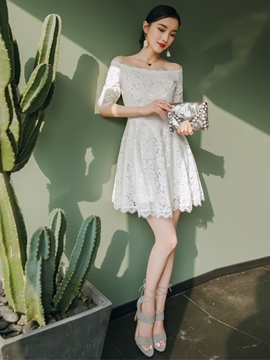 Ericdress Lace Short Off-The-Shoulder Half Sleeves Homecoming Dress