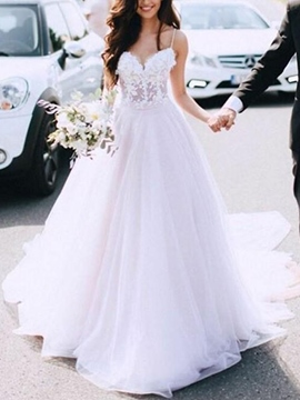 Ericdress Spaghetti Straps Appliques Court Train Hall Wedding Dress 2019