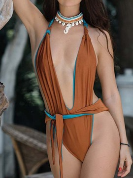 Ericdress Color Block One Piece Lace-Up Sexy Swimwear