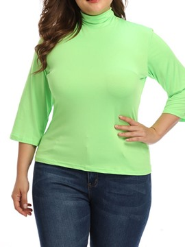 Ericdress Plus Size Plain Turtleneck Stretchy Slim T-Shirt