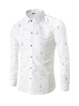 Ericdress Print Lapel Slim Casual Men's Single-Breasted Shirt