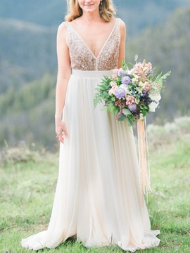 Ericdress A-Line Sequins Beach Wedding Dress
