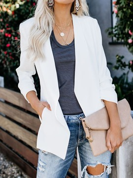 Ericdress Wrapped Long Sleeve Plain Mid-Length Regular Casual Blazer