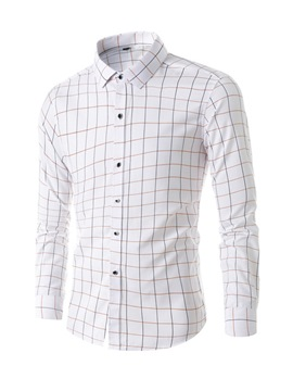 Ericdress Lapel Casual Plaid Men's Single-Breasted Shirt