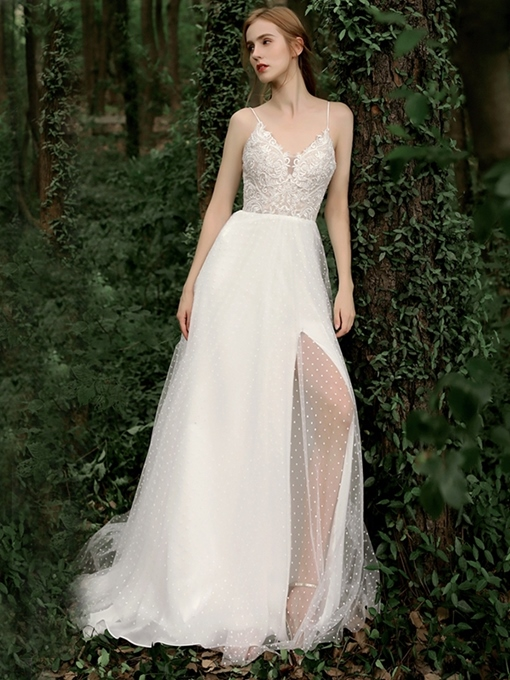 Ericdress Spaghetti Straps Appliques Outdoor Wedding Dress