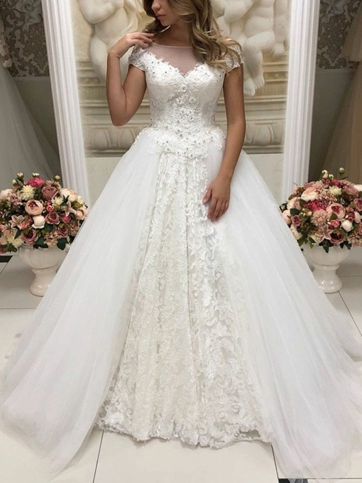 Ericdress Cap Sleeves Beading Lace Wedding Dress