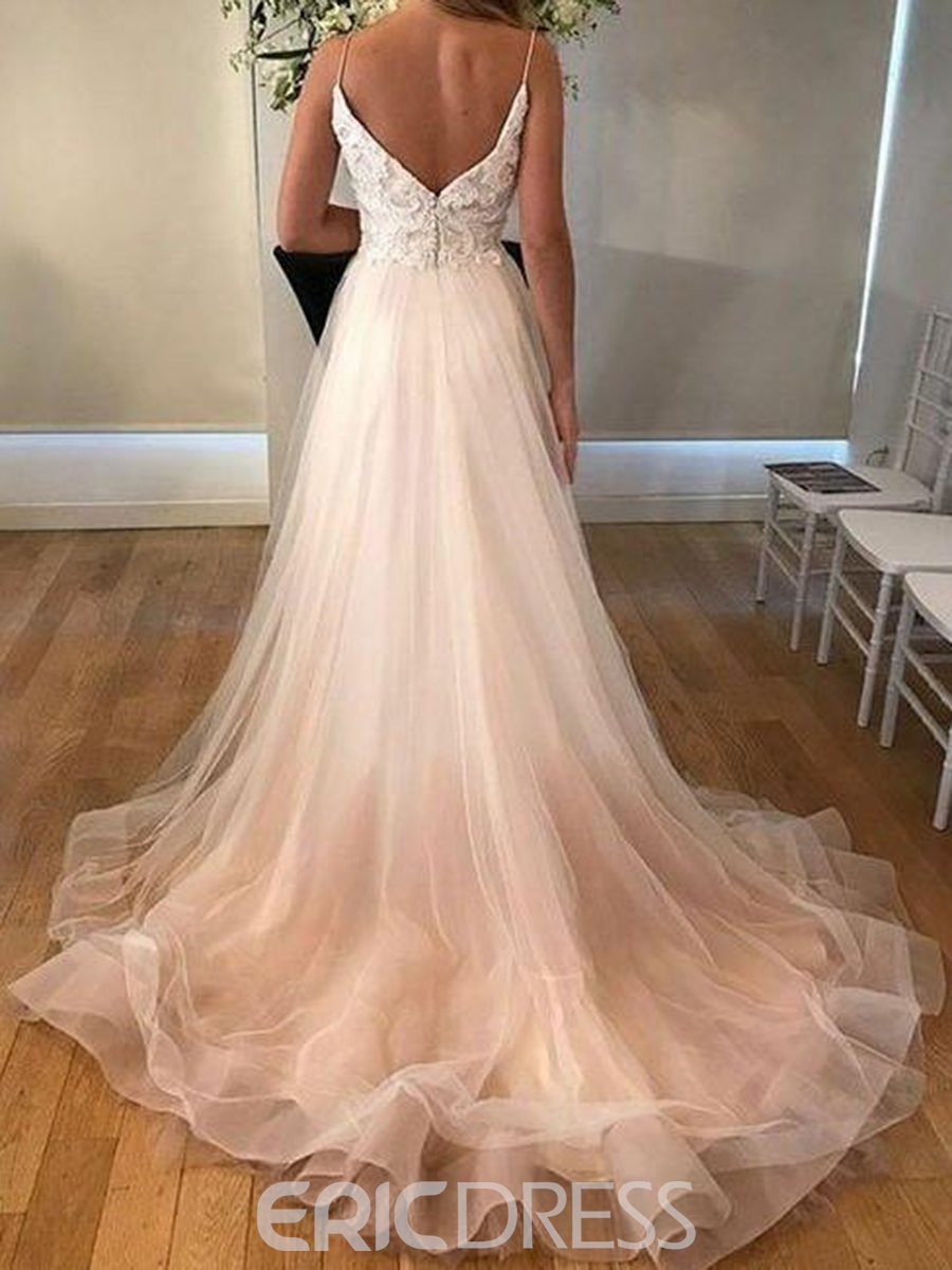 Ericdress Button Spaghetti Straps Appliques Wedding Dress 2019