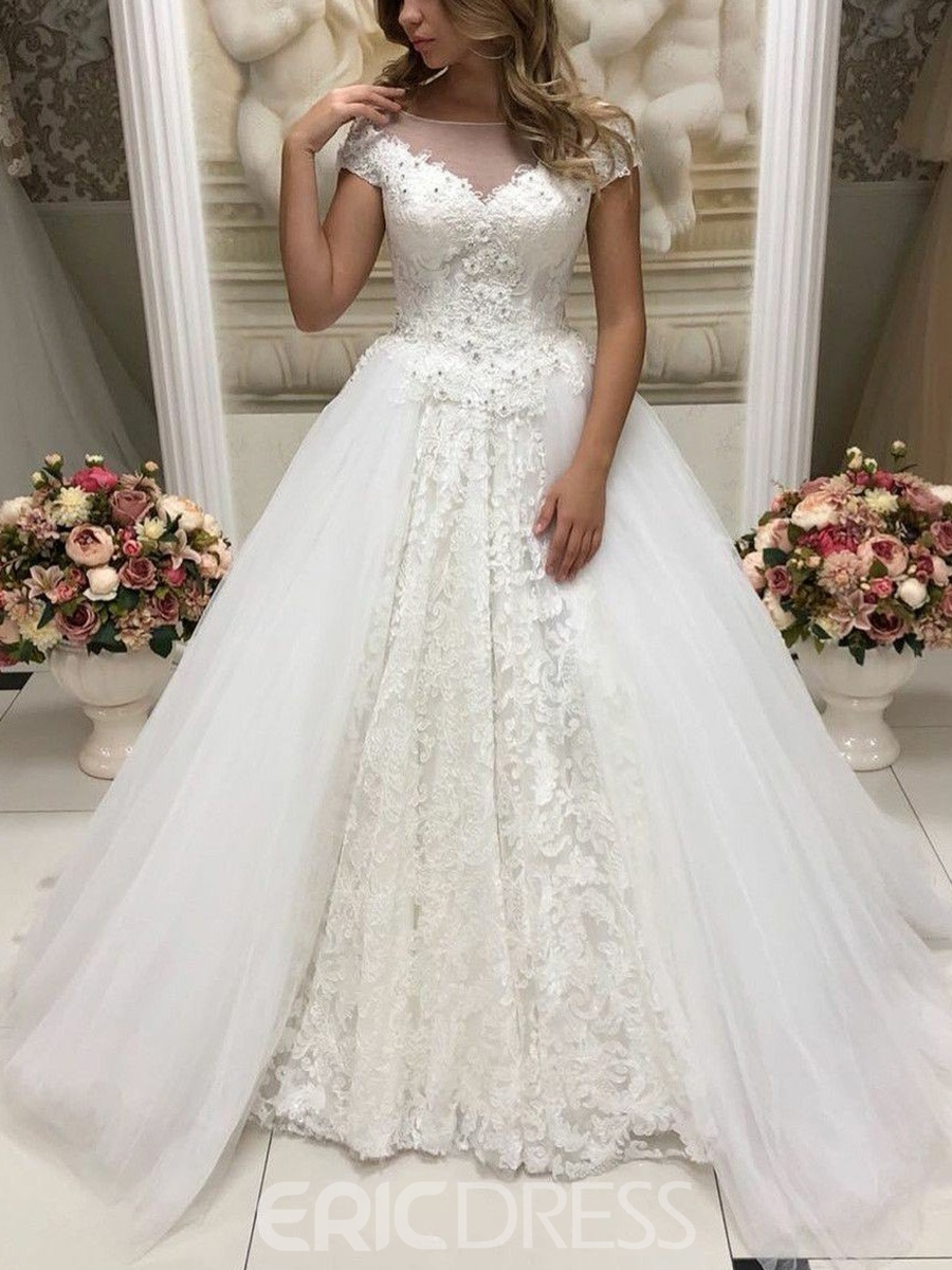 Ericdress Cap Sleeves Beading Lace Wedding Dress 2019