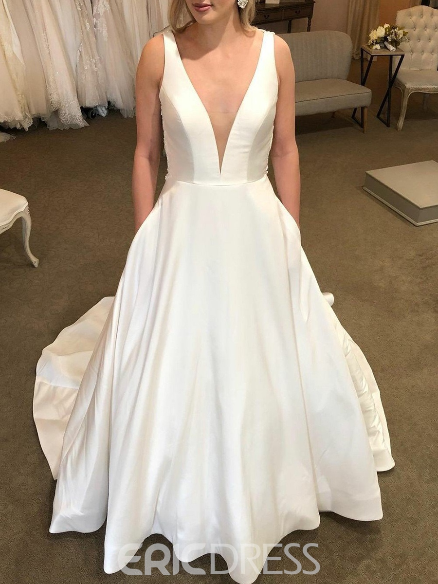Ericdress Straps Pockets Lace Backless Wedding Dress 2019
