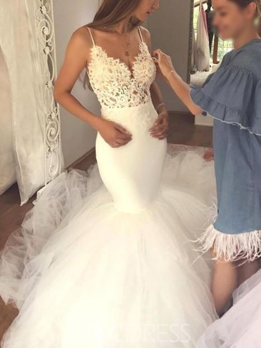 Ericdress Beading Lace Backless Mermaid Wedding Dress