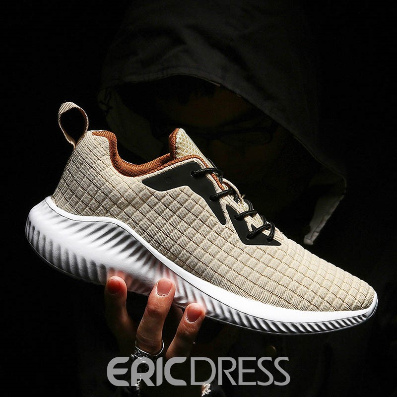Ericdress Plaid Mesh Lace-Up Low-Cut Upper Men's Sneakers