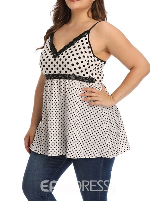 Ericdress Plus Size Patchwork Lace Backless Polka Dots Tank Top