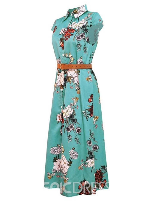 Ericdress Print Ankle-Length Polo Neck Single-Breasted Mid Waist Dress