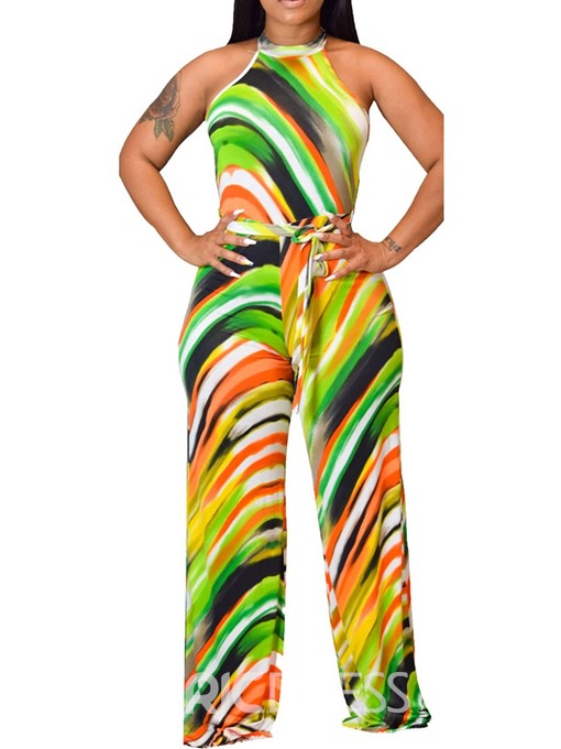 Ericdress Stripe Full Length High Waist Straight Jumpsuit