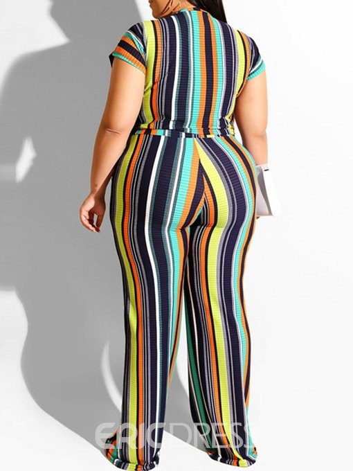 Ericdress Plus Size Stripe Patchwork Pullover Round Neck Two Piece Sets
