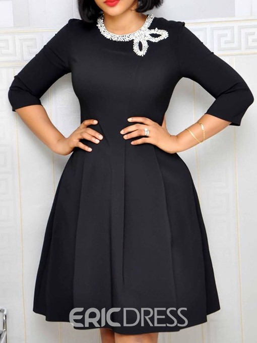 Ericdress A-Line Above Knee Three-Quarter Sleeve Round Neck OL Black Dress