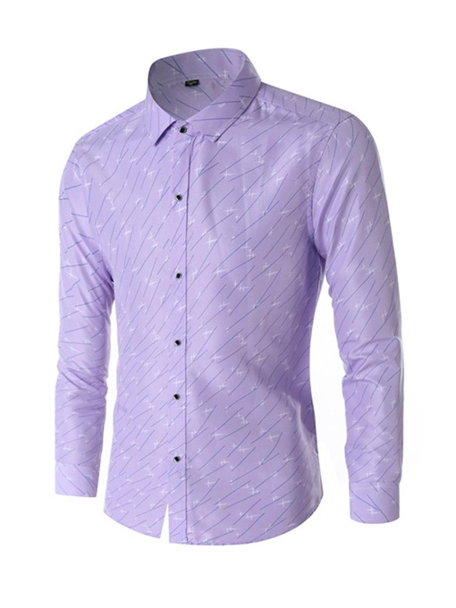 Ericdress Print Casual Color Block Slim Men's Shirt