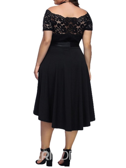 Ericdress Plus Size Off Shoulder Swallowtail Lace Patchwork Dress