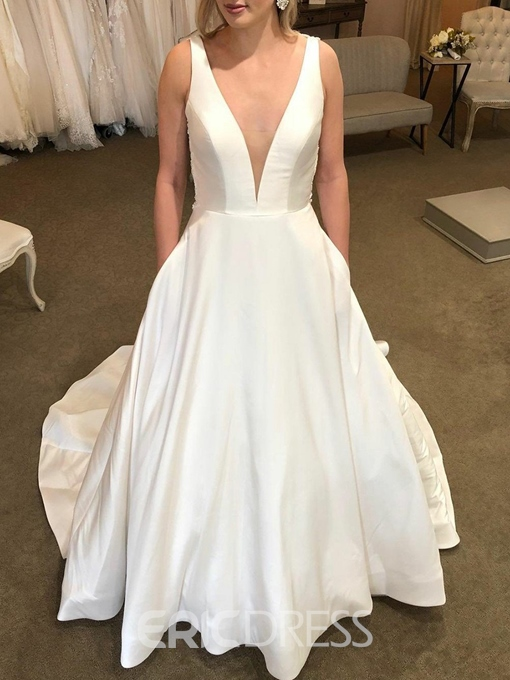 Ericdress Straps Pockets Lace Backless Wedding Dress