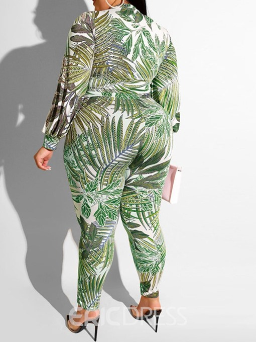 Ericdress Plus Size Print Plant Stand Collar Women's Suit T-Shirt And Pants Two Piece Sets