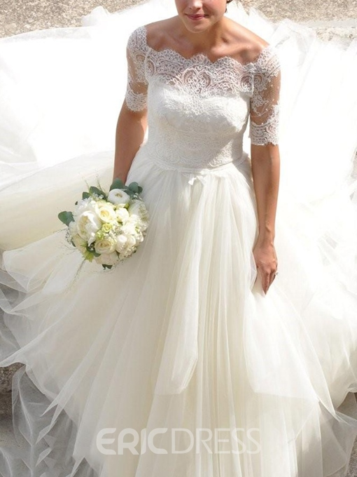 Ericdress Ball Gown Short Sleeves Lace Wedding Dress