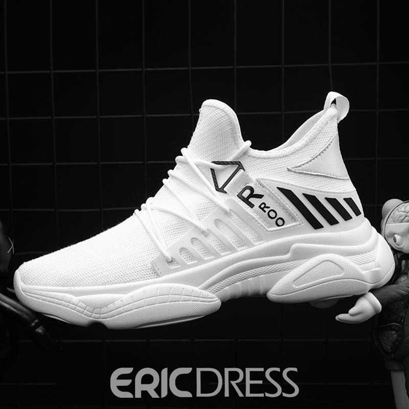 Ericdress Mesh Color Block Round Toe Lace-Up Men's Running Shoes