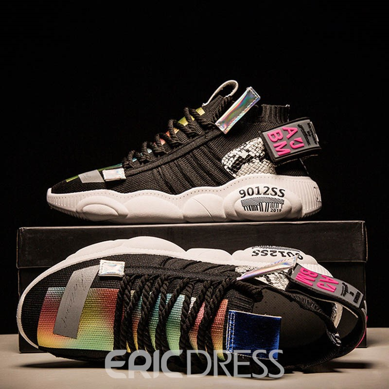 Ericdress Print Lace-Up Round Toe Men's Chic Sneakers