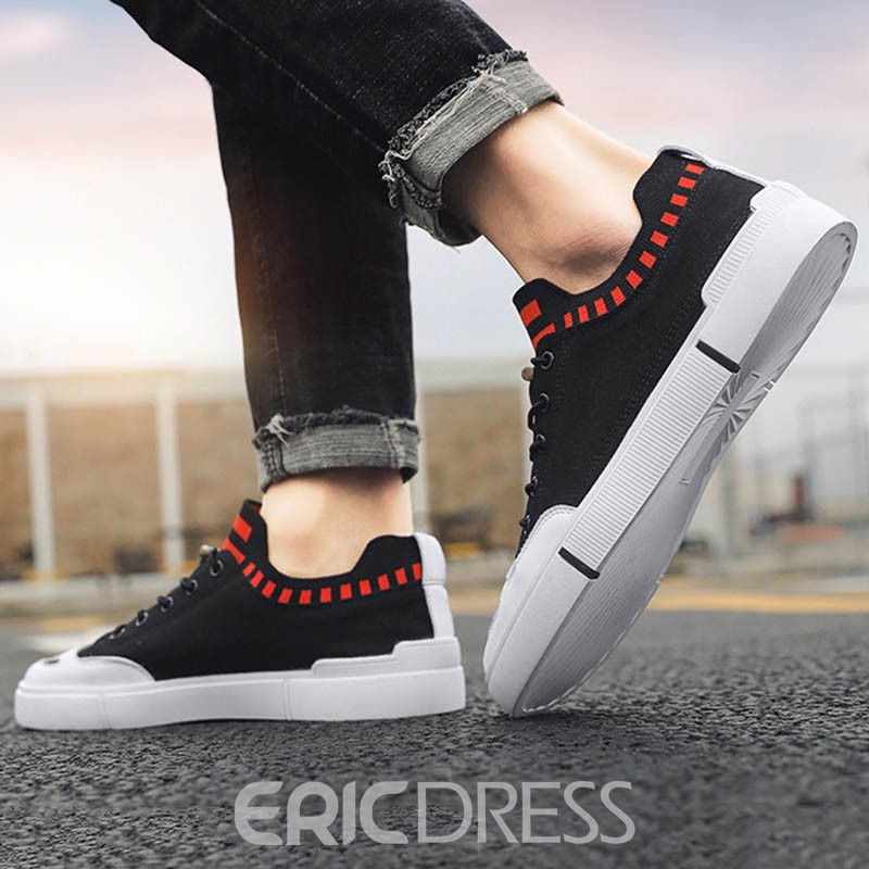 Ericdress Flyknit Lace-Up Color Block Round Toe Men's Skate Shoes