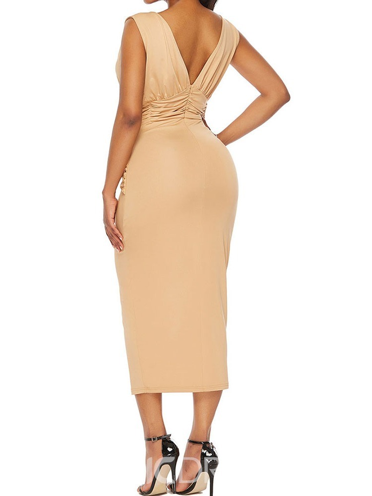 Ericdress V-Neck Patchwork Mid-Calf Party Bodycon Dress
