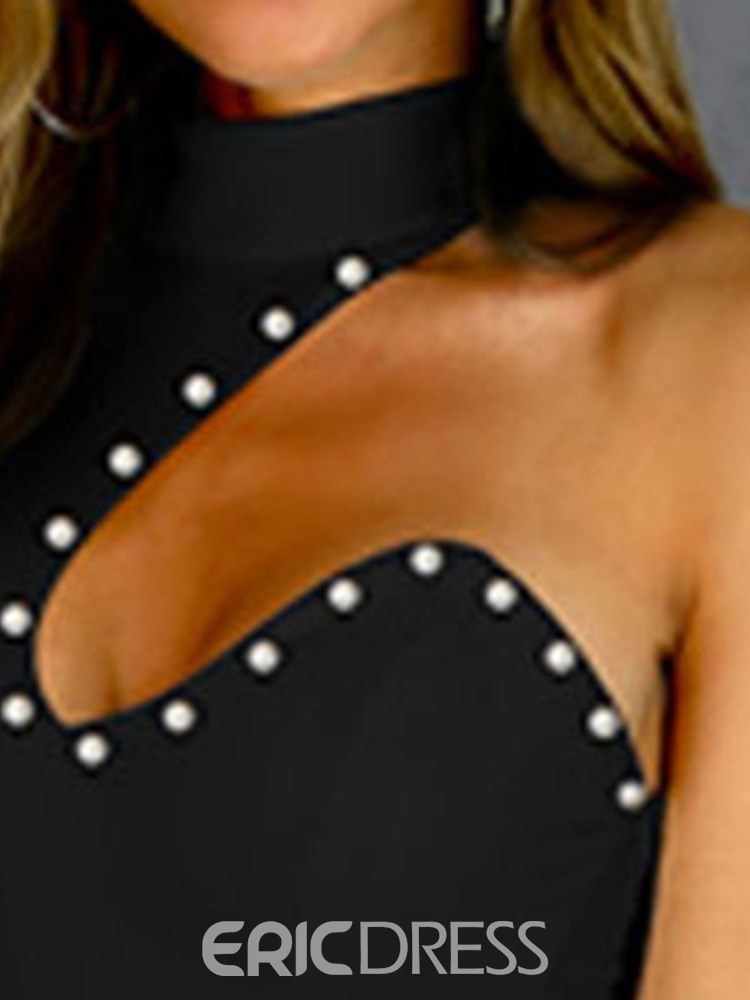 Ericdress Bead Above Knee Sexy Stand Collar One-Shoulder Bodycon Black Dress