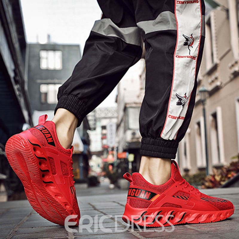Ericdress Mesh Stripe Print Lace-Up Round Toe Men's Sneakers