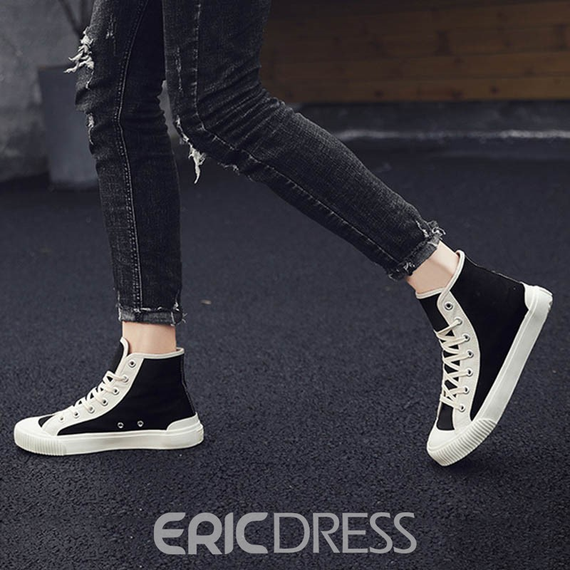 Ericdress Canvas Color Block Lace-Up High-Cut Upper Round Toe Men's Skate Shoes