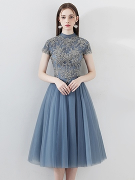 Ericdress A-Line Appliques High Neck Short Sleeves Homecoming Dress 2019