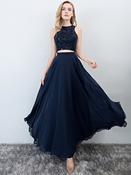 Ericdress Lace Scoop Sleeveless Floor-Length Prom Dress 2019
