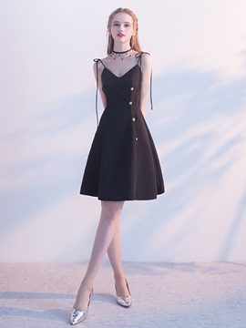 ericdress knopf kurz / mini ärmellose spaghettiträger homecoming dress 2019