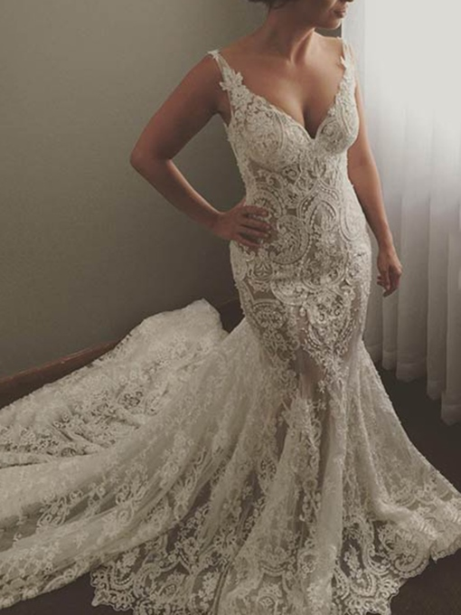 Ericdress Mermaid Chapel Train Lace Wedding Dress 2019