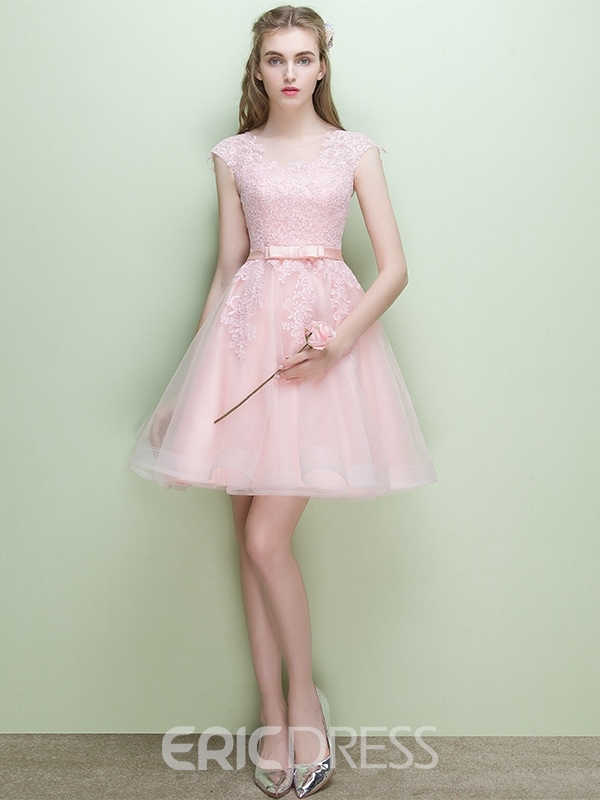 Ericdress A-Line Cap Sleeves Scoop Short Homecoming Dress