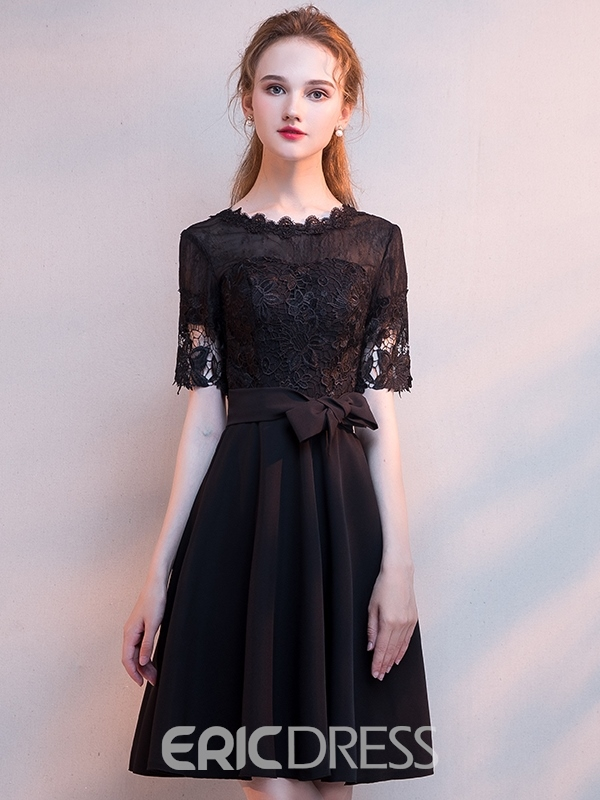 Ericdress Short Sleeves Lace Scoop A-Line Homecoming Dress
