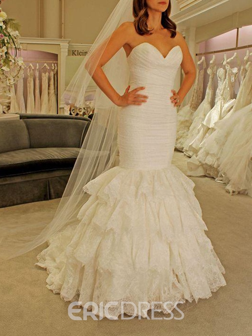 Ericdress Trumpet Tiered Lace Wedding Dress
