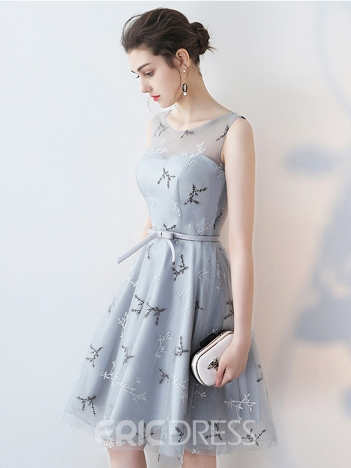 Ericdress Scoop Neck Embroidery Short Homecoming Dress