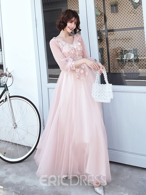 Ericdress 3/4 Length Sleeves Floor-Length Appliques V-Neck Prom Dress