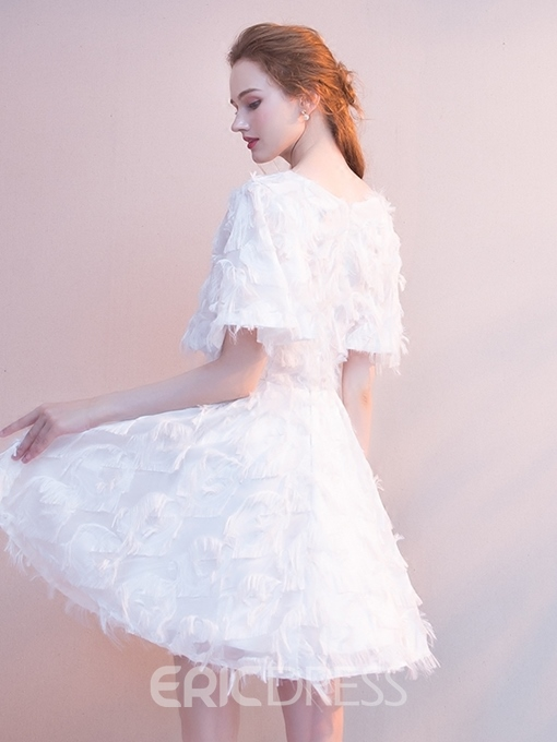 Ericdress Lace Short Sleeves Square Short Homecoming Dress