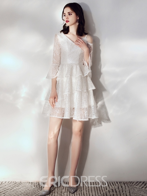 Ericdress Short V-Neck A-Line Lace Homecoming Dress