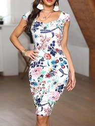Ericdress Print Square Neck Short Sleeve Regular Bodycon Dress фото