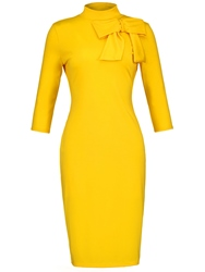 Ericdress Yellow Stand Collar Bowknot Womens Sheath Dress фото