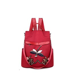 Ericdress Dragonfly Printed Applique Oxford Floral Backpack