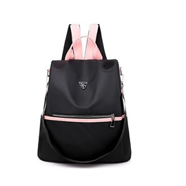 Ericdress Black Color Block Oxford Backpack