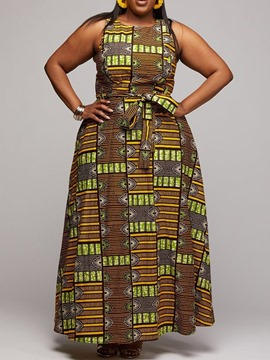 Ericdress Plus Size African Fashion Floor-Length Sleeveless A-Line Dress