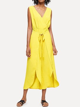 Ericdress Sleeveless V-Neck Split Plain Mid Waist Lemon Dress