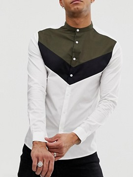 ericdress color block stehkragen casual winter einreiher shirt